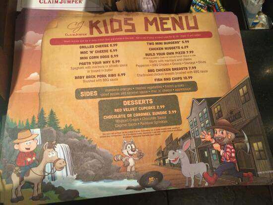 Claim Jumper kids menu
